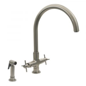 3-03954SS85-BN - Luxe+ Dual Handle Faucet with Gooseneck Swivel Spout, Cross Style Handles and Solid Brass Side Spray