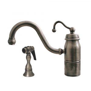 3-3165-SPR-C-BN - Beluga Kitchen Faucet with Single Curved Handle, Curved Swivel Spout and Solid Brass Side Spray