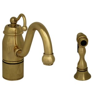 3-3165-SPR-C-B - Beluga Kitchen Faucet with Single Curved Handle, Curved Swivel Spout and Solid Brass Side Spray