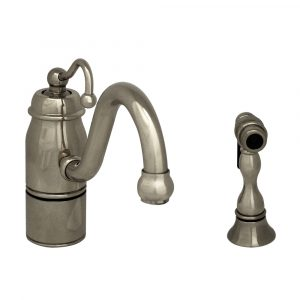 3-3165-SPR-C-C - Beluga Kitchen Faucet with Single Curved Handle, Curved Swivel Spout and Solid Brass Side Spray