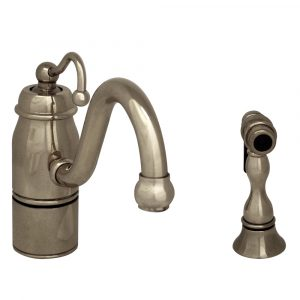 3-3165-SPR-C-PN - Beluga Kitchen Faucet with Single Curved Handle, Curved Swivel Spout and Solid Brass Side Spray