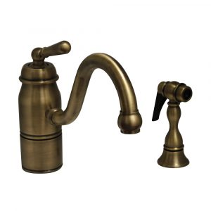 3-3165-SPR-L-AB - Beluga Kitchen Faucet with Single Lever Handle, Curved Swivel Spout and Solid Brass Side Spray