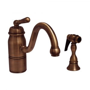 3-3165-SPR-L-ACO - Beluga Kitchen Faucet with Single Lever Handle, Curved Swivel Spout and Solid Brass Side Spray