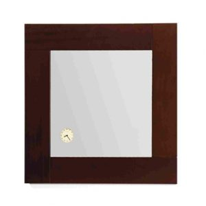 AMET01 - Antonio Miro Square Mirror with Iroko Wood Frame and Built-in Clock