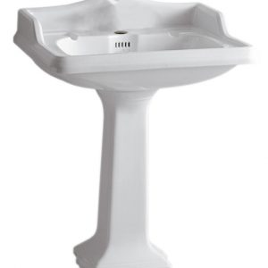 AR834-AR805-1H - Isabella Collection Traditional Pedestal with an Integrated large Rectangular Bowl, Single Hole Faucet Drilling, Backsplash, Dual Soap Ledges, Decorative Trim and Overflow