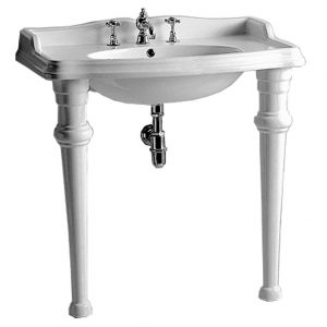AR864-GB001-3H - Isabella Collection Rectangular Console with integrated oval bowl, widespread faucet drill, backsplash, ceramic leg support and chrome overflow