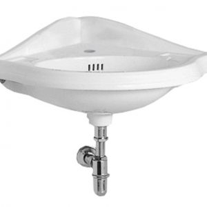 AR884-1H - Isabella Collection Corner Wall Mount Basin with Single Hole Faucet Drilling, Oval bowl, Backsplash, Dual Soap Ledges and Overflow