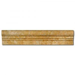 BMX-1040 2.5x12 Golden Sienna travertine chairrails, Honed / Filled