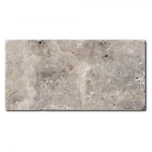 BMX-1093 3x6 Silver travertine tile, Tumbled