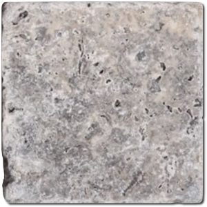 BMX-1110 4x4 Silver travertine tile, Tumbled