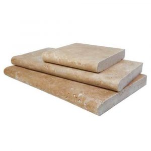 BMX-1335 12x24 Walnut travertine pool copings, Tumbled