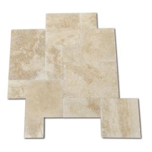 BMX-1614 16 square feet pack Walnut travertine paver, Versailles Pattern