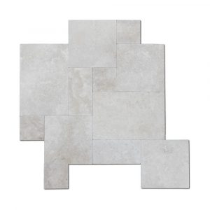BMX-1616 16 square feet pack Ivory travertine paver, Versailles Pattern