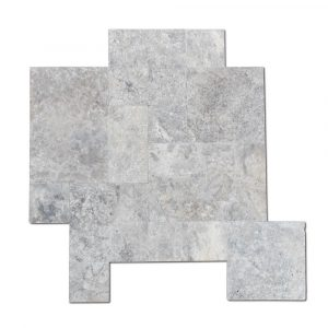 BMX-1617 16 square feet pack Silver travertine paver, Versailles Pattern