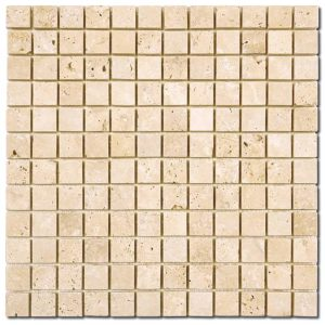 BMX-1628 1x1 Ivory travertine mosaics, Tumbled