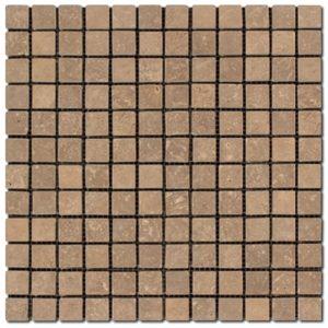 BMX-1630 1x1 Noce travertine mosaics, Tumbled