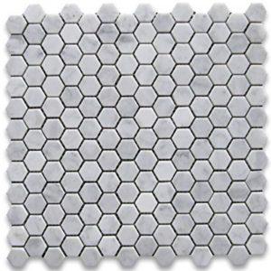 BMX-1635 1 Carrara White Hexagon marble mosaics, Honed