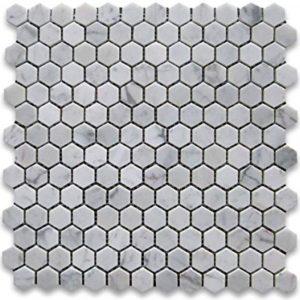 BMX-1636 1 Carrara White Hexagon marble mosaics, Polished