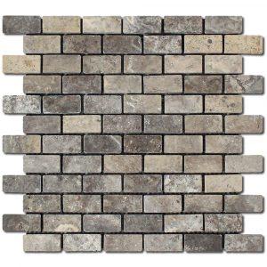 BMX-1639 1x2 Silver travertine mosaics, Tumbled