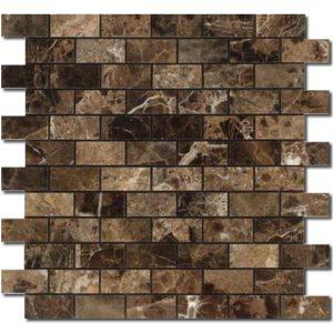BMX-1643 1x2 Emperador Dark marble mosaics, Polished