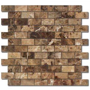 BMX-1644 1x2 Emperador Dark marble mosaics, Honed