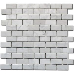 BMX-1647 1x2 Carrara White marble mosaics, Polished
