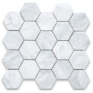 BMX-1668 2 Carrara White Hexagon marble mosaics, Honed
