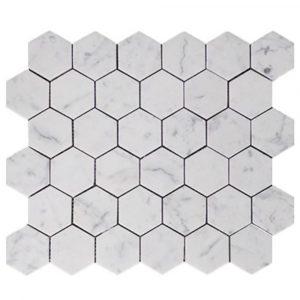 BMX-1669 2 Carrara White Hexagon marble mosaics, Polished