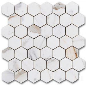 BMX-1672 2 Calacatta Gold Hexagon marble mosaics, Polished