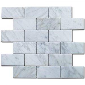 BMX-1681 2x4 Carrara White marble mosaics, Polished