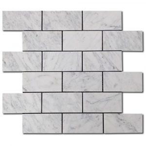 BMX-1682 2x4 Carrara White marble mosaics, Honed