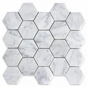 BMX-1683 3 Carrara White Hexagon marble mosaics, Honed