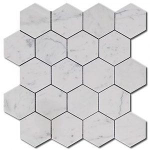 BMX-1684 3 Carrara White Hexagon marble mosaics, Polished