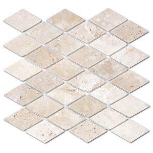 BMX-1706 2x4 Ivory Diamond travertine mosaics, Tumbled