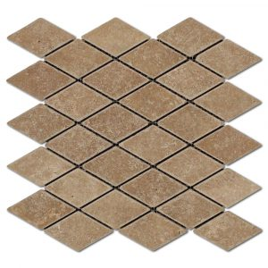 BMX-1707 2x4 Noce Diamond travertine mosaics, Tumbled