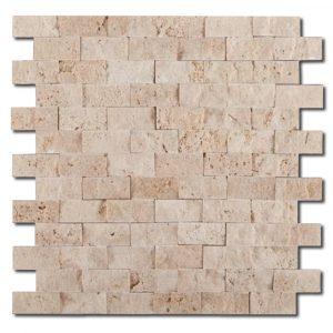 BMX-1714 1x2 Ivory travertine mosaics, Split Face