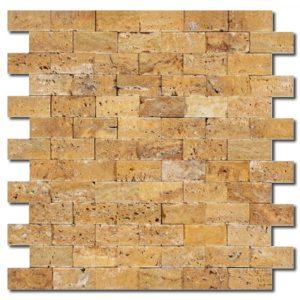 BMX-1715 1x2 Golden Sienna travertine mosaics, Split Face