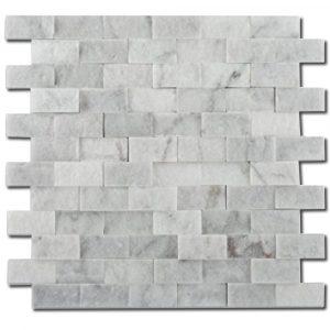 BMX-1719 1x2 Carrara White marble mosaics, Split Face