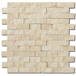 BMX-1720 1x2 Bottocino marble mosaics, Split Face