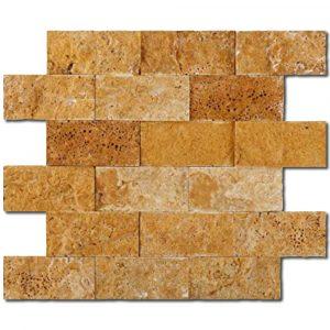 BMX-1727 2x4 Golden Sienna travertine mosaics, Split Face