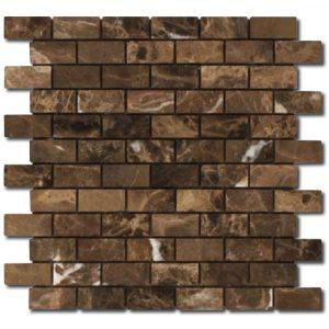 BMX-2032 3/4x2 Emperador Dark Small Brick marble mosaics, Tumbled