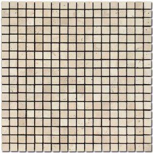 BMX-2035 5/8x5/8 Ivory travertine mosaics, Tumbled