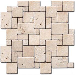 BMX-2114 12x12 Ivory Mini travertine mosaics, Tumbled