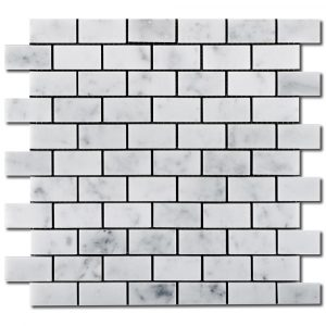 BMX-1646 1x2 Carrara White marble mosaics, Honed