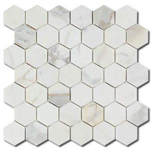BMX-1673 2 Calacatta Gold Hexagon marble mosaics, Honed