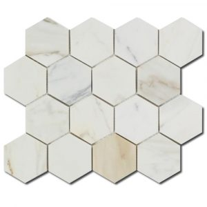BMX-1685 3 Calacatta Gold Hexagon marble mosaics, Polished
