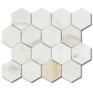 BMX-1686 3 Calacatta Gold Hexagon marble mosaics, Honed