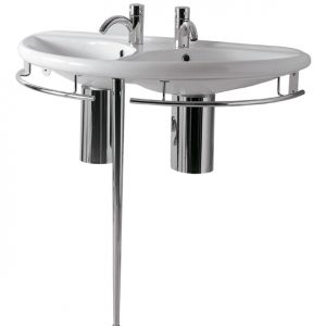 ECO64-ESU04 - Isabella Collection Semi-Circular Double Basin China Console with Chrome Overflow, Polished Chrome Towel Rails and Leg Support
