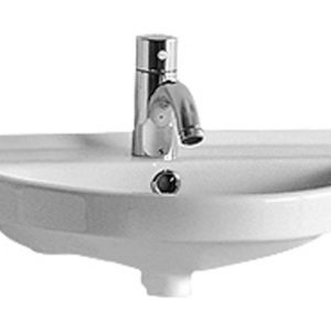 LU004-C - Isabella Collection Small U-Shaped Wall Mount Basin  with Chrome Overflow and Rear Center Drain