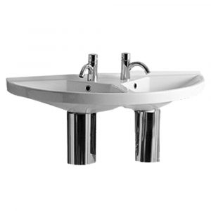LU020 - Isabella Collection Large U-Shaped Wall Mount Double Basin with Chrome Overflows
